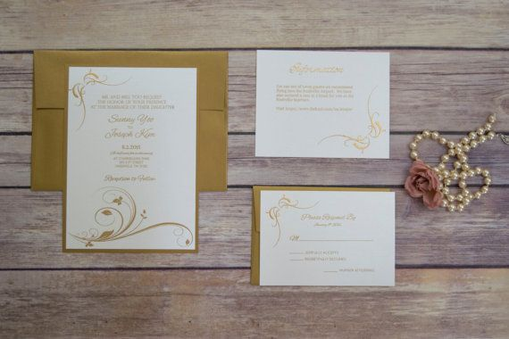 Pearl White and Gold Fancy Elegant Wedding Invitation SAMPLE SET