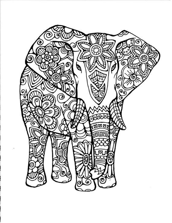 Adult Coloring Page:Original Hand Drawn Art in Black and White, Instant Digital Download Image of an Elephant: