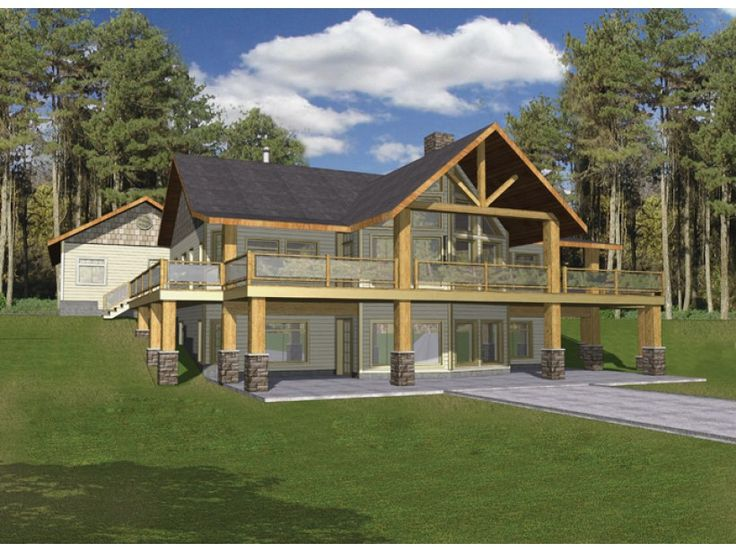 american lodge 2 story rustic hearty protective house eplans a frame house plan hillside haven with two levels of outdoor living 3871 square feet - Colonial Lake House Plans