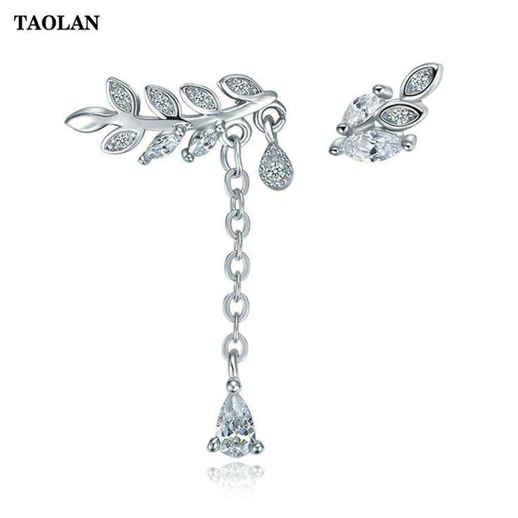TAOLAN S925 sterling silver Leaf drop earrings Asymmetric AAA Cubic Zirconia Earrings Wholesale Silver Jewelry TLE8169 #Affiliate