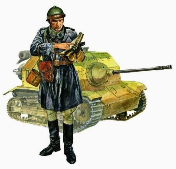 Wojna Obronna 1939 Porucznik 10. Brygady Kawalerii w kurtce skórzanej i z pistoletem przy pasie. W tle – tankietka TKS uzbrojona w najcięższy karabin maszynowy FK-A wz. 38 kal. 20 mm. Rys.Marek Szyszko. https://www.facebook.com/wojskopolskie19391945/photos/a.376644045867274.1073741828.376641135867565/377806502417695/?type=1