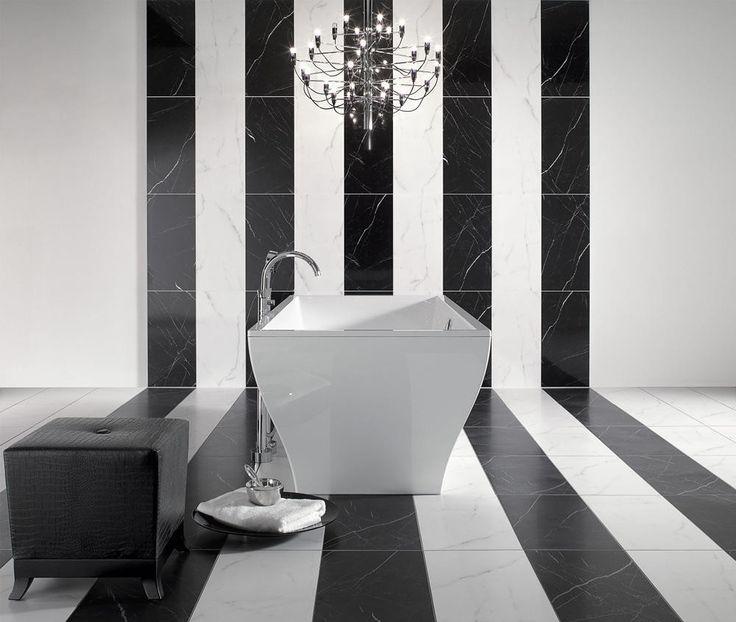 Łazienka czarno-biała retro - Villeroy and Boch La Belle
