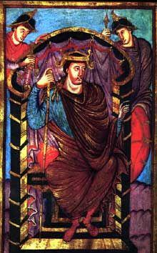 Evangile de Lothaire. L'empereur Lothaire, folio 1. Ecole de Saint Martin de Tours. 849-851. Paris Bibliothèque Nationale de France, Ms. lat. 266.