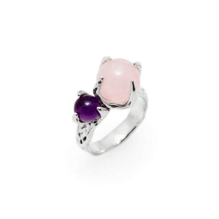 SPHERE RING SPUTNIK WITH AMETHYST AND ROSE QUARTZ #pulse_jewellery  #sterling #silver #925 #jewellery #jewelry #ring #rings #fluid #liquid #sphere #gemstone #amethyst #rose #quartz