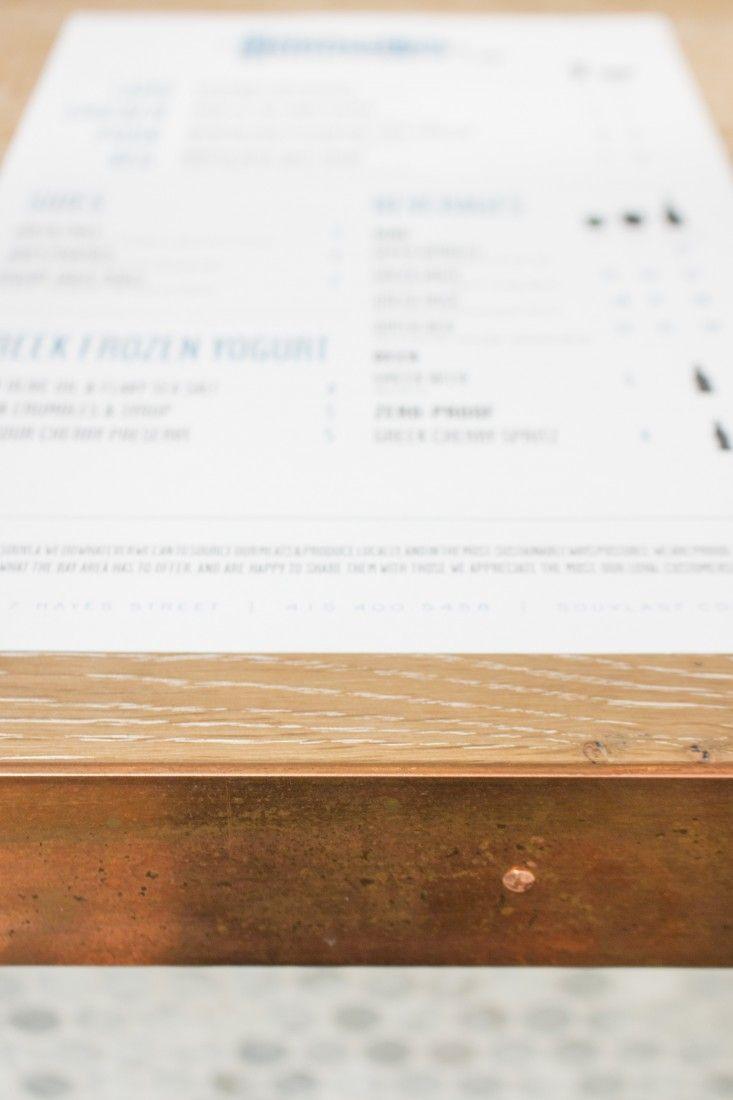Menu and Copper Edging at Souvla Greek Restaurant in Hayes Valley, San Francisco, Remodelista