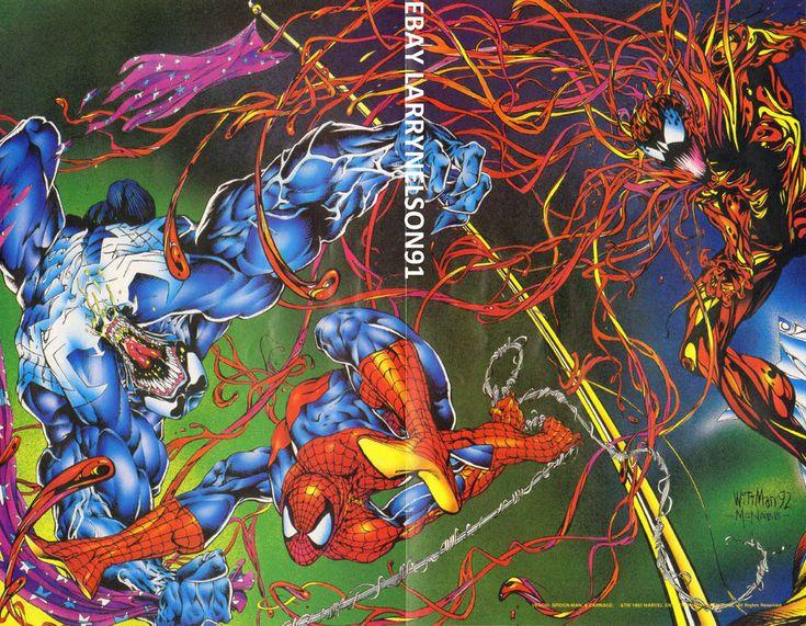 VENOM VS CARNAGE VS AMAZING SPIDER-MAN POSTER MARVEL BLACK SUIT 1993 EDDIE BROCK