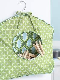 How To: Fabric Clothespin Caddy  Could be used for holding plastic bags, etc.
