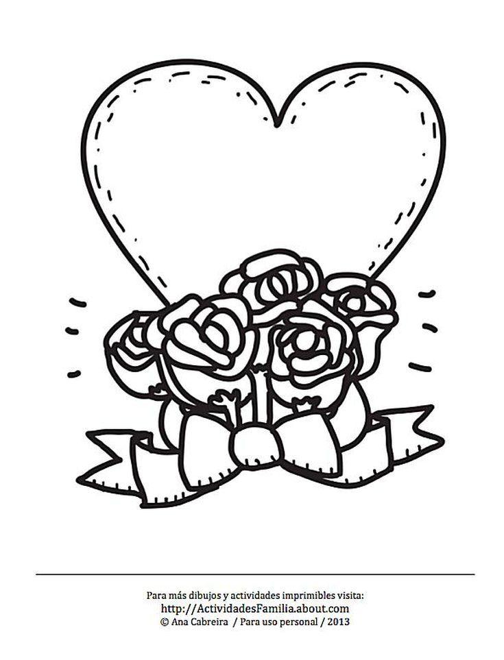 10 Dibujos de corazones para imprimir y colorear: Corazón con rosas ...