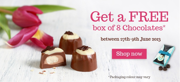 Free Box of our brand new chocolate favourites collection with every order until 9th June 2013! >:)