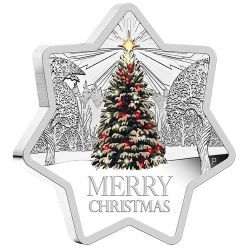 Christmas 2015 1oz Star Shaped Silver Proof Coin #AVeryMerryChristmas The coin is such an unusual shape and catches your eye. The design is beautiful and it reminds me of Christmas as a little girl. We always had real trees and the smell was lovely. My Mum would only put the tree up one week before Christmas so it made it really exciting and special - although I hated waiting that long!