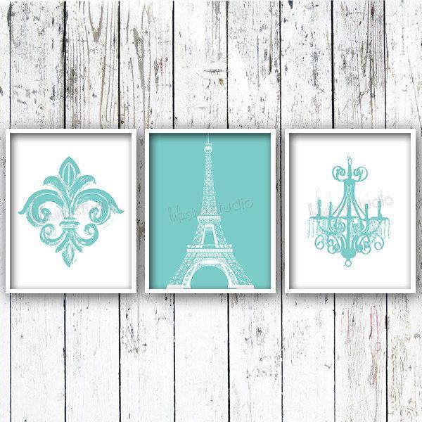 Fleur De Lis Eiffel Tower Chandelier Set Of 3   Wall Decor   Paris Bedroom  Decor   Paris Decor   Nursery Art   Bedroom Art   Girls Room