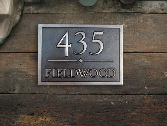 Address Plaque in Luminore WhiteBronze with Black by OldGoatSigns, $128.00