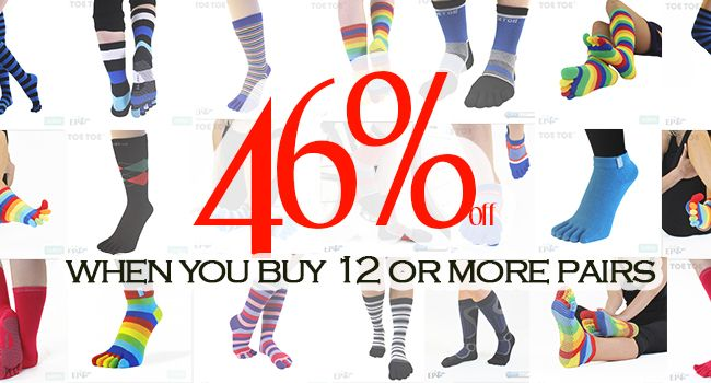 Take a look! 46% off when you buy 12 or more pairs!  #TOETOESocks #TOETOE #Offers #ToeSocks