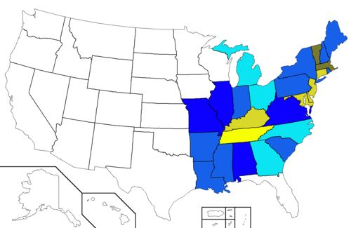 United States presidential election results between 1828 and 1852. Blue-shaded states usually voted for the Democratic Party, while yellow/brown shaded states usually voted for the National Republican Party or the Whig Party.