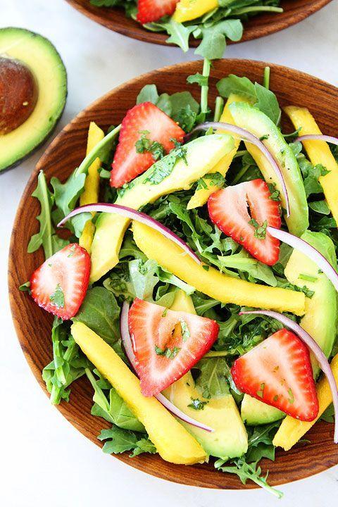 Mango, Strawberry, and Avocado Arugula Salad Recipe on http://twopeasandtheirpod.com. Love this beautiful and healthy salad!