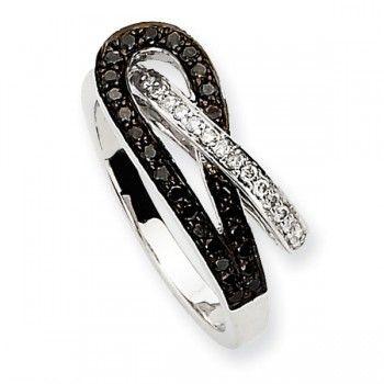 14k White Gold Black & White Diamond Promise Ring - by Samuels Jewelers