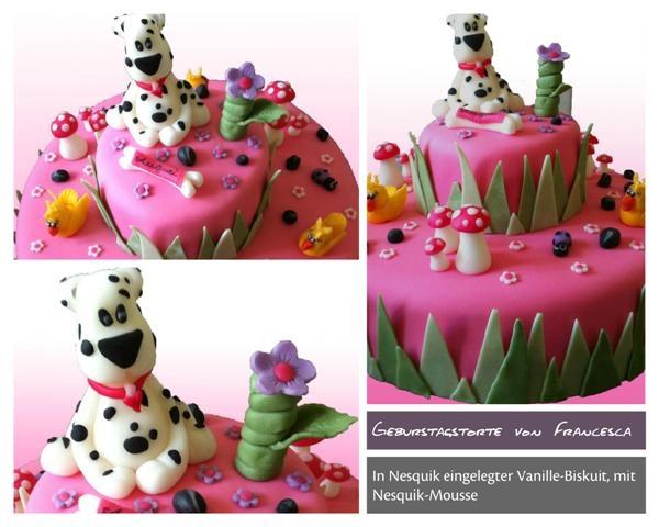 Birhtday cake dog in pink