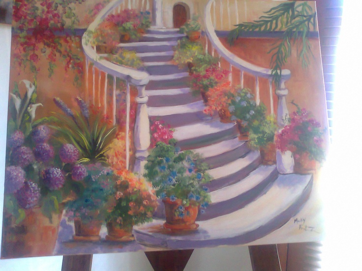 Floral stair case painting in oils