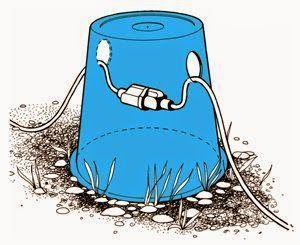 If you have outdoor cords, try this tip! Drill two small holes in a overturned bucket to protect your power cord connections from rain and snow. This also makes it easier to find after a big snow fall.