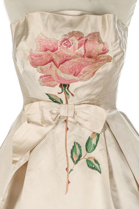 Kerry Taylor Auctions Norman Hartnell couture ivory satin cocktail dress, circa 1960.