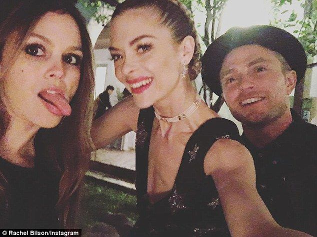 '#reunited': Rachel Bilson enjoyed an impromptu reunion with her Hart of Dixie costars Jaime King and Wilson Bethel at an ACLU benefit in Los Angeles on Saturday