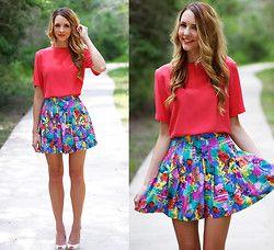 Cola Vintage Falda plisada Tropical, Neiman Marcus Vintage brillante blusa de seda de coral