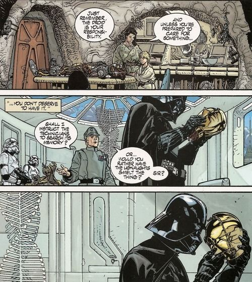 Do you think Darth Vader sees C-3PO and remembers back to the hours spent in his childhood working on assembling him?  I like to think so
