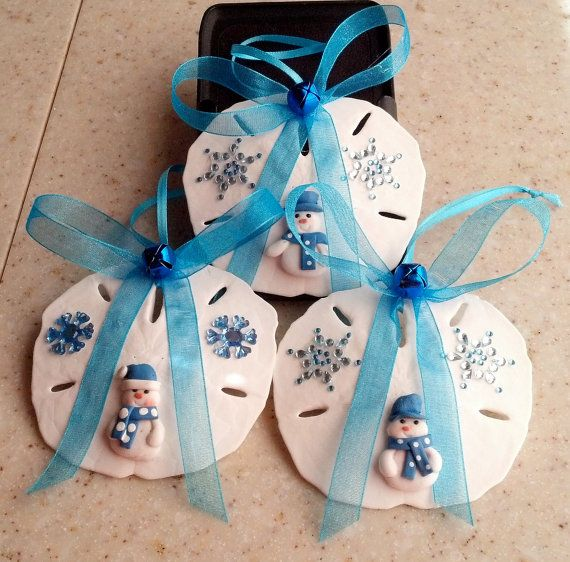 Christmas Seashell Ornaments Set 24  Sand Dollars & by Eagle414, $19.95