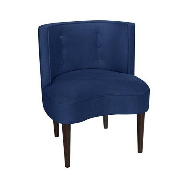 Curve Ball Velvet Navy Blue Fabric Armless Accent Chair ($420) ❤ Liked On  Polyvore Featuring Home, Furniture, Chairs, Velvet Upholstered Chair, Navy  Blue ...