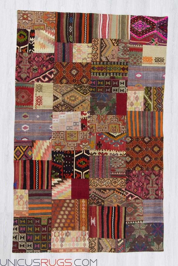 "Decorative colourful kilim patchwork made from handwoven kilim pieces and backed with good quality cotton fabric as reinforcement. In very good condition. Width: 5' 10"" - Length: 9' 5"" PATCHWORKS"
