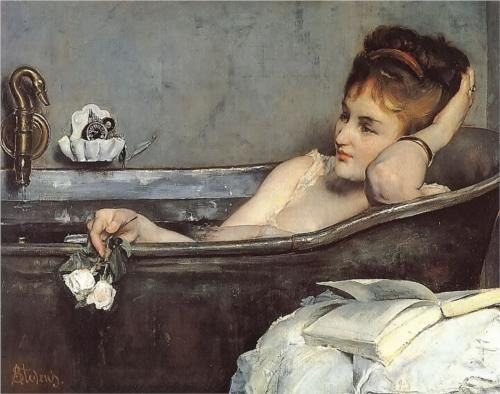 The Bath - Alfred Stevens  1867 For some reason, I'm in love with this portrait - I want it in my bathroom! :)