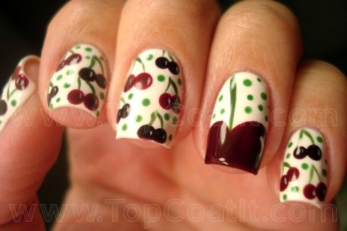 Cherry nails, so ridiculously cute!