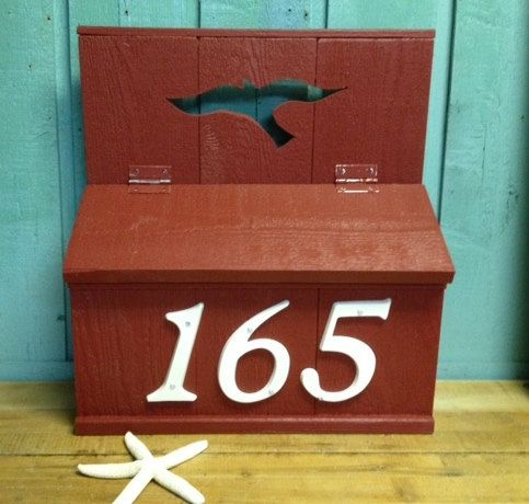 Large Mailbox Address Number Box Or Wedding Card Box by CastawaysHall  Made to order. Please allow 10 business days to produce before shipping.  The new larger weathered wood mailbox with or without house numbers by CastawaysHall. Great on your house as a mailbox or use it at your wedding first for guest cards. Made with premium cedar wood and high end exterior primer and paint to stand up to the elements. Made to order with any of the cutouts that are available on my shutters or address…