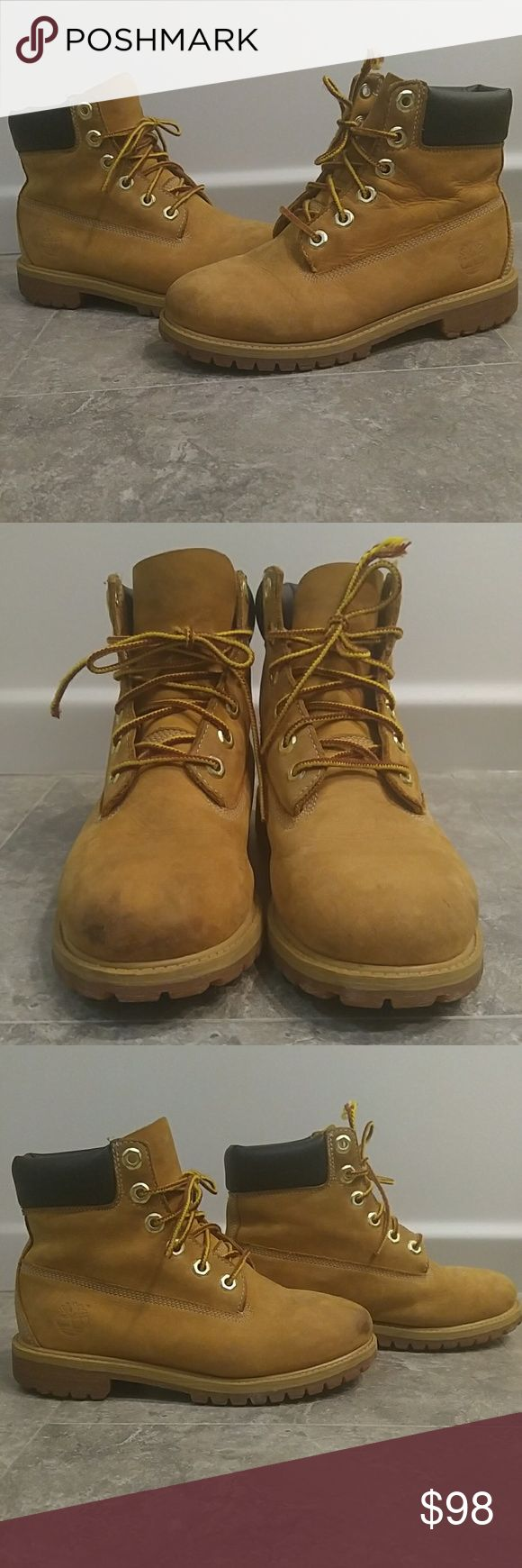 Timberland Boots In very good used condition. Minor signs of wear as seen in pics. Small stain at right toe tip. Inner & outer soles in excellent used condition. Genuine leather. Fits like women's sz 5.5-6. *Offers welcomed. From smoke/fragrance/pet free home. No trades/modeling.* Timberland Shoes Lace Up Boots