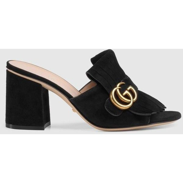 Gucci Suede Mid-Heel Slide ($720) ❤ liked on Polyvore featuring shoes, fringe high heel shoes, foldable shoes, black suede shoes, high heel shoes and gucci shoes