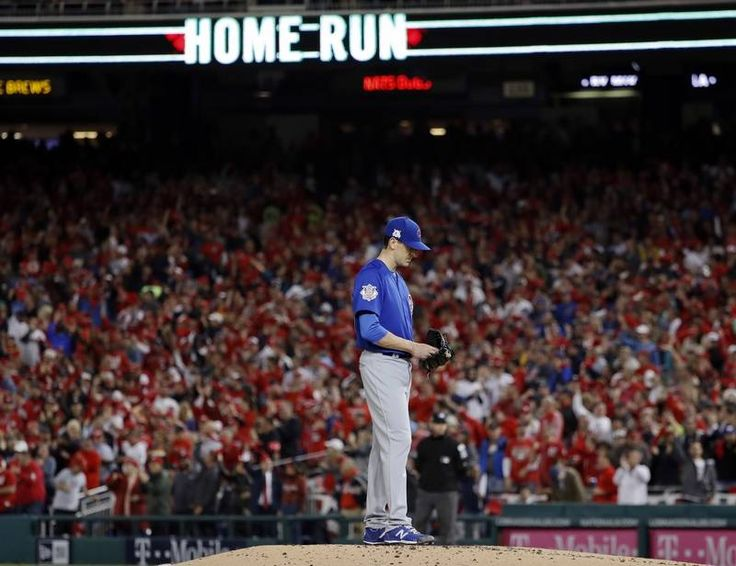 October 12, 2017:  Chicago Cubs over Washington Nationals, 9-8 in NLDS Game 5 - Chicago Cubs pitcher Kyle Hendricks stands on the mound after giving up a solo homer to Washington Nationals' Daniel Murphy in the second inning of Game 5 of baseball's National League Division Series at Nationals Park, Thursday, Oct. 12, 2017, in Washington.