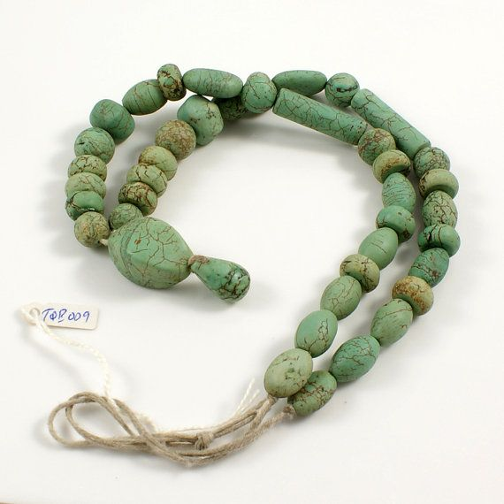 Turquoise Bead Strand from Yemen with Pendant Stone by TheRockSpot