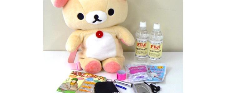 Rirakkuma - Earthquake kit - Cute stuffed bear stuffed with survival gear for kids in Japan