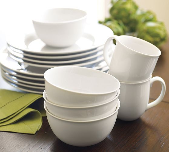 Great White Traditional Dinnerware | Pottery Barn - the cereal bowls are great but I like the idea of all white dishes