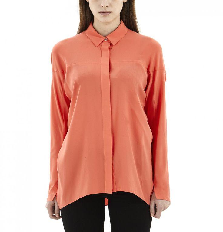 Coral Silk Shirt