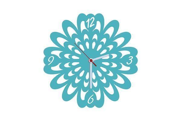 Flower Turkuaz Kadife Duvar Saati 33 cm   cazip geldi