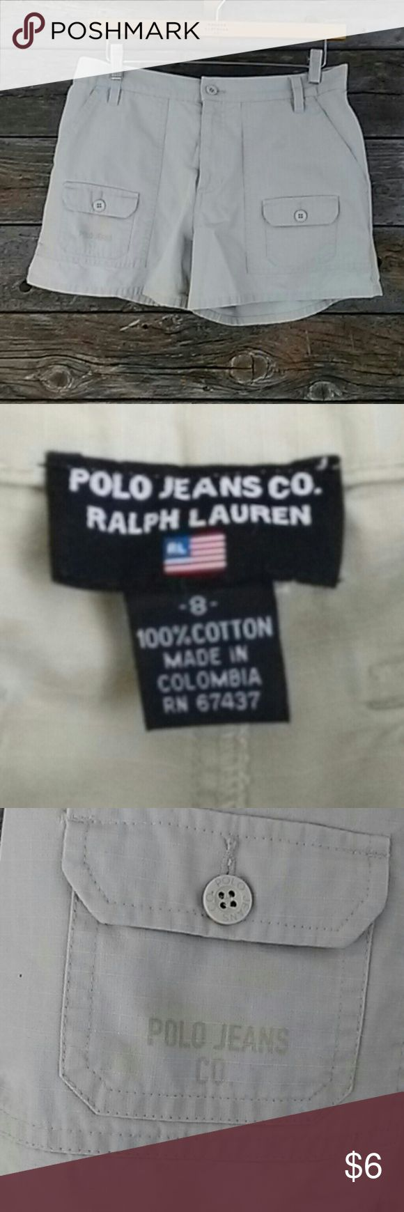 Polo Jeans Co. Ralph Lauren cotton shorts. Size 8 Polo Jeans Co. Ralph Lauren cotton shorts. Size 8. Pockets in front and back of shorts. Has smaller spot near front bottom pocket near where it says Polo Jeans Co. On pocket (see picture). Super cute shorts Polo Jean Co. Ralph Lauren  Shorts Jean Shorts