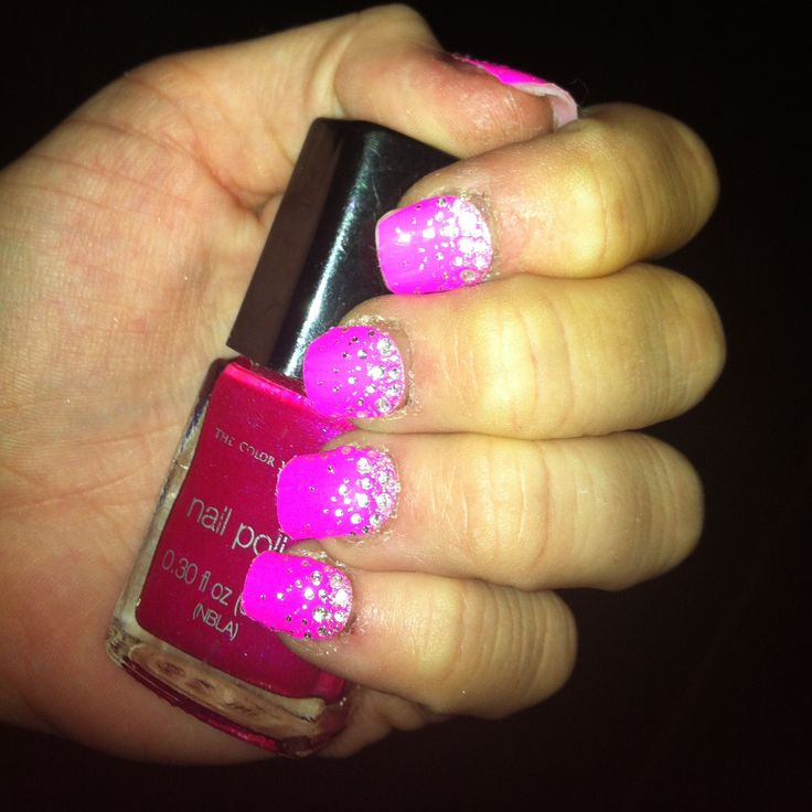 hot pink nails with diamonds - photo #3