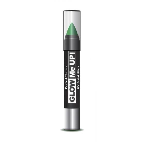 Glow in the dark make-up stift groen. Neon groene make-up stift voor het lichaam en het gezicht. Laad de make-up stift op met een felle lichtbron, zodat de verf fel oplicht in het donker. U kunt de make-up gemakkelijk en soepel aanbrengen en is ook weer makkelijk te verwijderen met water en zeep. Inhoud: 3 gram.