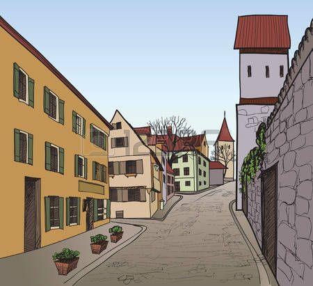 Calle peatonal en la vieja ciudad europea con la torre en el fondo histórico de calle de la ciudad dibujado a mano ilustración vectorial boceto