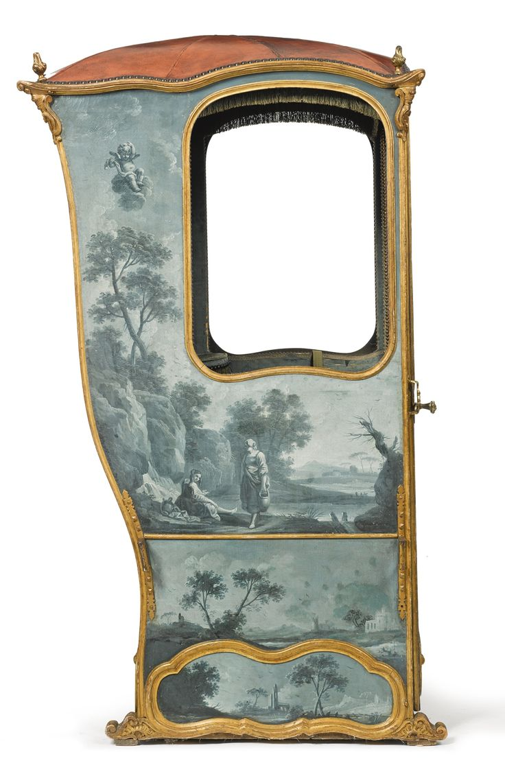A Louis XV carved giltwood andpainted canvassedan chair mid-18th century | lot | Sotheby's