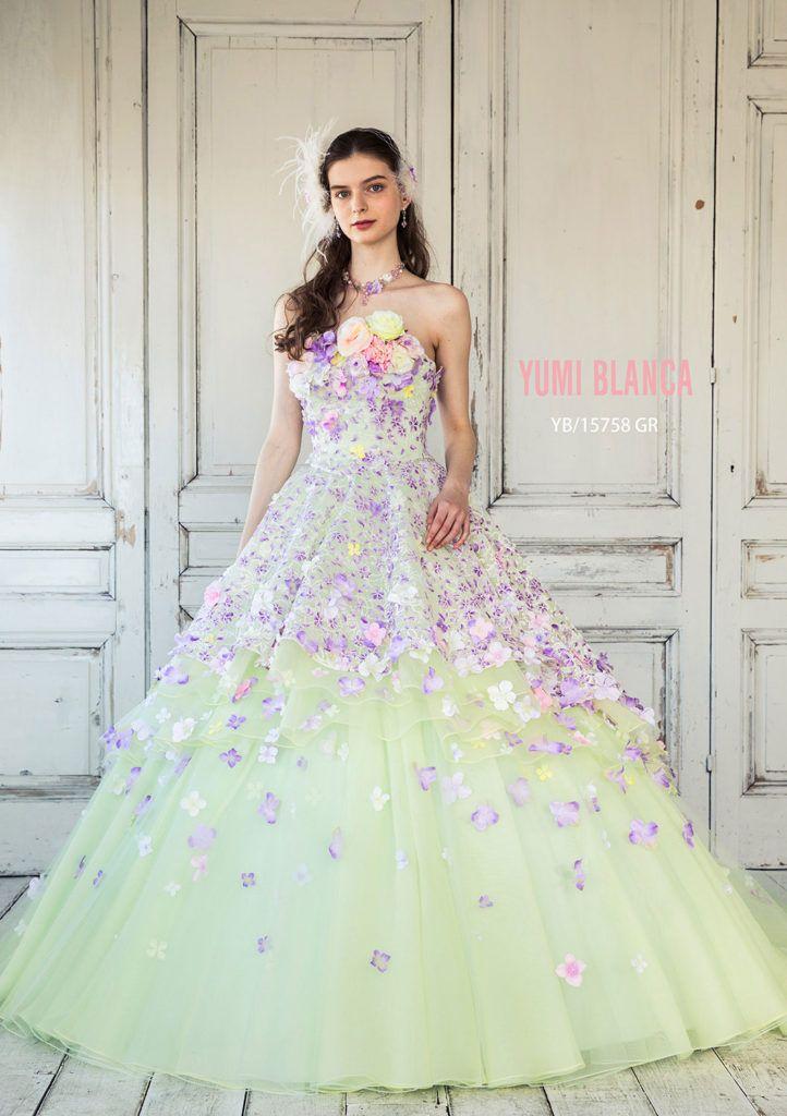 093e871dfc790 YB-15758(YE) - 桂由美 カラードレス -  ボンディングレースにプリントを施した素材に、花モチーフをあしらった、ロマンティックな2wayスタイルのソワレ。 ボリューム ...