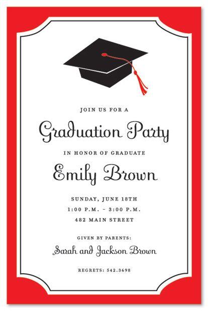 Graduation Invitations | Graduation Red Border Graduation ...