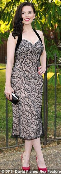 Hayley Atwell + dress Love the halter style on this dress and the pattern.