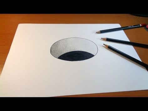 Very Easy 3d Trick Art How To Draw A Round Hole On Paper Youtube